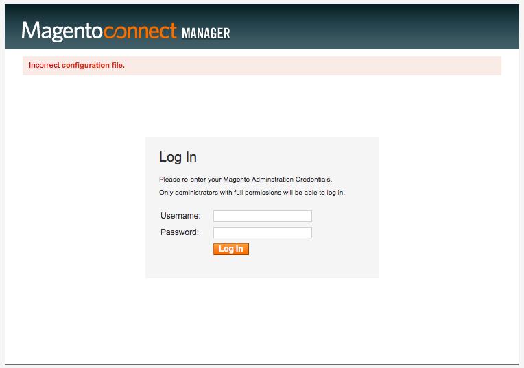 Incorrect Configuration File
